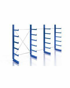 Kragarmregal K200 Einfachregal, Komplettregal, einseitig nutzbar, H2000xB3740xT500 mm, RAL 5010 / enzianblau