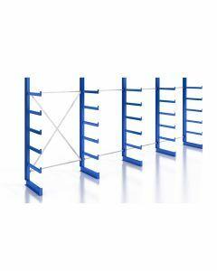 Kragarmregal K200 Einfachregal, Komplettregal, einseitig nutzbar, H2000xB4970xT500 mm, RAL 5010 / enzianblau