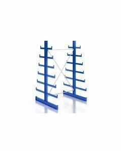 Kragarmregal K200 Doppelregal, Grundfeld, beidseitig nutzbar, H2000xB1280xT2x250-500 mm, RAL 5010 / enzianblau