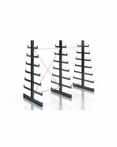 Kragarmregal K200 Doppelregal, Komplettregal, beidseitig nutzbar, H2000xB2510xT2x250-500 mm, RAL 7016 anthrazit