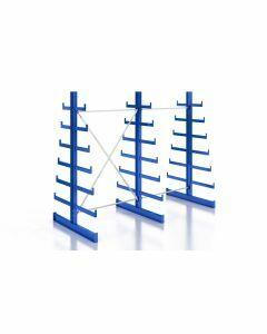 Kragarmregal K200 Doppelregal, Komplettregal, beidseitig nutzbar, H2000xB2510xT2x250-500 mm, RAL 5010 / enzianblau