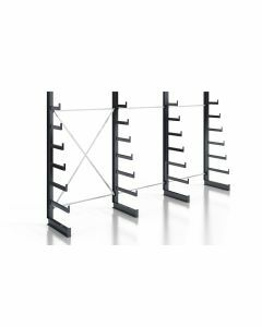 Kragarmregal K200 Einfachregal, Komplettregal, einseitig nutzbar, H2000xB3740xT250-500 mm, RAL 7016 anthrazit