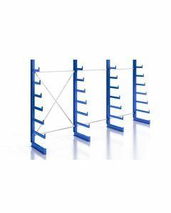 Kragarmregal K200 Einfachregal, Komplettregal, einseitig nutzbar, H2000xB3740xT250-500 mm, RAL 5010 / enzianblau
