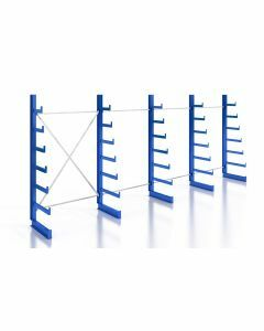 Kragarmregal K200 Einfachregal, Komplettregal, einseitig nutzbar, H2000xB4970xT250-500 mm, RAL 5010 / enzianblau