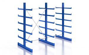 Kragarmregal K200 Doppelregal, Komplettregal, beidseitig nutzbar, H2000xB2510xT2x500 mm, RAL 5010 / enzianblau