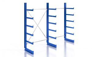 Kragarmregal K200 Einfachregal, Komplettregal, einseitig nutzbar, H2000xB2510xT500 mm, RAL 5010 / enzianblau