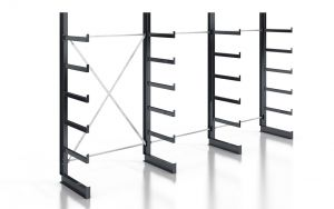 Kragarmregal K200 Einfachregal, Komplettregal, einseitig nutzbar, H2000xB3740xT500 mm, RAL 7016 anthrazit