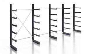 Kragarmregal K200 Einfachregal, Komplettregal, einseitig nutzbar, H2000xB4970xT500 mm, RAL 7016 anthrazit