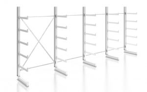 Kragarmregal K200 Einfachregal, Komplettregal, einseitig nutzbar, H2000xB4970xT500 mm, RAL 7035 lichtgrau