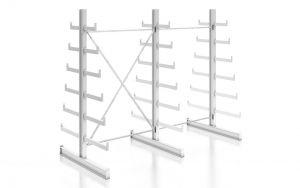 Kragarmregal K200 Doppelregal, Komplettregal, beidseitig nutzbar, H2000xB2510xT2x250-500 mm, RAL 7035 lichtgrau