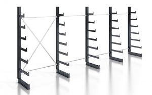 Kragarmregal K200 Einfachregal, Komplettregal, einseitig nutzbar, H2000xB4970xT250-500 mm, RAL 7016 anthrazit